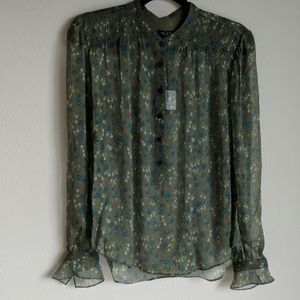 NWT Rag & Bone 100% Silk Olive Susan Sheer Blouse